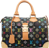 "Louis Vuitton Black Monogram Multicolore Coated Canvas Speedy 30 Bag Condition: 2 12"" Width x 9"" Height x 7&qu..."