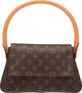 """Luxury Accessories:Bags, Louis Vuitton Brown Monogram Coated Canvas Mini Looping Bag. Condition: 2. 11"""" Width x 6"""" Height x 3.5"""" Depth. ..."""