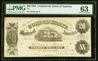 T9 $20 1861 PF-12 Cr. 31 PMG Choice Uncirculated 63