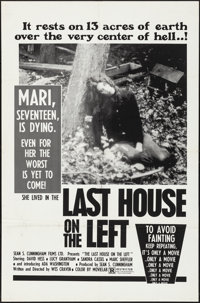 """The Last House on the Left (Sean S. Cunningham Films, 1972). Folded, Very Fine. One Sheet (27"""" X 41""""). Horror..."""