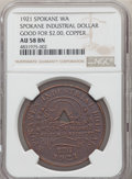 20th Century Tokens and Medals, 1921 Spokane's Industrial Dollar, Good For $2, Copper, AU58 Brown NGC....