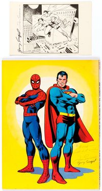 Superman Print and Superman vs. the Amazing Spider-Man #1 both Signed by Jerry Siegel and Joe Shuster (c