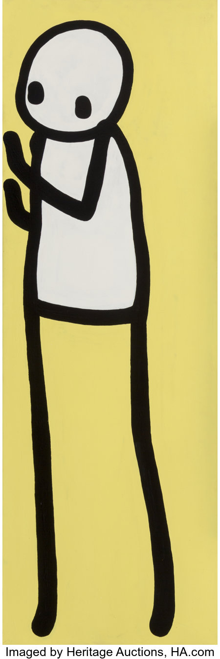 Stik (British, 20th century) Migrant 4, 2017 Acrylic on canvas 72 x 24 inches (182.9 x 61 cm) Signed to the reverse:...