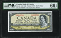 """World Currency, Canada Bank of Canada $20 1954 BC-33a """"Devil's Face"""" PMG Gem Uncirculated 66 EPQ.. ..."""
