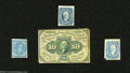 Confederate Notes:Group Lots, Three Confederate Stamps.... (4 items)