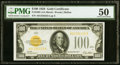 Small Size:Gold Certificates, Fr. 2405 $100 1928 Gold Certificate. PMG About Uncirculated 50.. ...