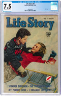 Golden Age (1938-1955):Romance, Life Story #9 (Fawcett Publications, 1949) CGC VF- 7.5 Off-white towhite pages....