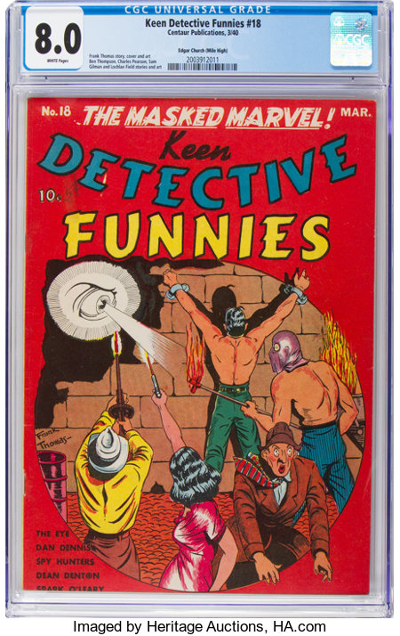 Keen Detective Funnies #18 Mile High Pedigree (Centaur, 1940) CGC VF 8.0 White pages....