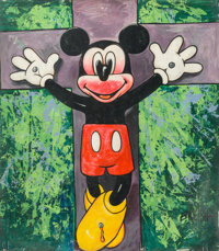 Ron English (American, b. 1959) Untitled (The Crucifixion of Mickey) Acrylic on vinyl tarp 85-1/4 x 76 inches (216.5