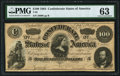 Confederate Notes:1864 Issues, T65 $100 1864 PF-3 Cr. 494 PMG Choice Uncirculated 63.. ...