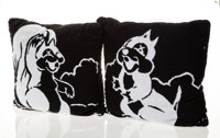 KAWS X Disney Chip and Dale Pillows, set of two, 2002 Polyester throw pillows 18 x 18 x 8 inches (45.7 x 45.7 x 20.3...