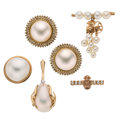 Estate Jewelry:Lots, Diamond, Cultured Pearl, Mabe Pearl, Gold Jewelry. ... (Total: 5 Items)