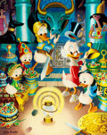 """Memorabilia:Disney, Carl Barks The Stone That Turns All Metals Gold Signed Limited Edition """"Philosopher's Gold Plate Edition"""" Lithogra..."""