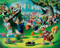 Memorabilia:Disney, Carl Barks Holiday in Duckburg Signed Limited Edition Gold Plate Lithograph Print #91/100 (Another Rainbow, 1989)....