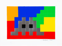 Invader (French, b. 1969) Home Lego (Silver), 2010 Screenprint in colors on paper 11-1/2 x 16-1/2