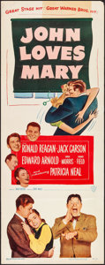 "Movie Posters:Comedy, John Loves Mary (Warner Brothers, 1949). Folded, Fine/Very Fine.Insert (14"" X 36""). Comedy.. ..."