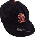 Baseball Collectibles:Hats, Early 1960's Stan Musial Game Worn & Signed St. Louis Cardinals Cap with Musial Family Letter. ...