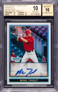 2009 Bowman Chrome Draft Prospects Refractor Mike Trout #BDPP89 BGS Gem Mint 10 - 10 Autograph
