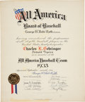 Baseball Collectibles:Others, 1933 Charlie Gehringer All America Baseball Team Certificate Signed by Babe Ruth, PSA/DNA Gem Mint 10....