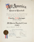 Baseball Collectibles:Others, 1940 Charlie Gehringer All America Baseball Team Certificate Signed by Babe Ruth, PSA/DNA Gem Mint 10.. ...
