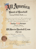 Baseball Collectibles:Others, 1934 Charlie Gehringer All America Baseball Team Certificate Signed by Babe Ruth, PSA/DNA NM 7....