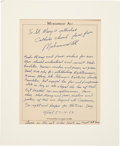 Boxing Collectibles:Autographs, 1983 Muhammad Ali Hand Written & Signed Letter. ...