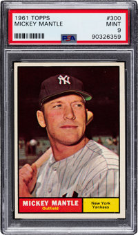 1961 Topps Mickey Mantle #300 PSA Mint 9 - Only Two Higher