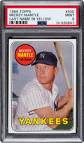 Baseball Cards:Singles (1960-1969), 1969 Topps Mickey Mantle (Yellow Letters) #500 PSA Mint 9 - Only Two Higher....