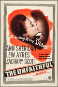 "Movie Posters:Drama, The Unfaithful (Warner Brothers, 1947). Folded, Fine+. One Sheet(27"" X 41""). Drama.. ..."