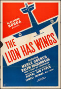 """Movie Posters:War, The Lion Has Wings (United Artists, 1940). Folded, Fine+. One Sheet (27"""" X 41""""). War.. ..."""