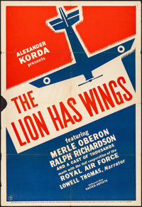 "The Lion Has Wings (United Artists, 1940). Folded, Fine+. One Sheet (27"" X 41""). War"