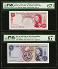 World Currency, Isle Of Man Isle of Man Government 10 Shillings; 1 Pound ND (1961) Pick 24b; 25b Two Examples PMG Superb Gem Unc 67 EPQ.... (Total: 2 notes)