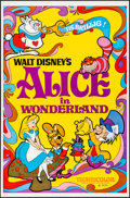 "Movie Posters:Animation, Alice in Wonderland (Buena Vista, R-1974). Folded, Very Fine+. One Sheet (27"" X 41""). Animation.. ..."