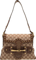 "Luxury Accessories:Bags, Gucci Brown Monogram Pelham Runway Flap Bag. Condition: 2. 11"" Width x 8"" Height x 1.5"" Depth. ..."