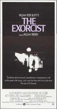 "The Exorcist (Warner Brothers, 1974). Folded, Very Fine. Three Sheet (41"" X 79""). Horror"