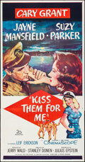 "Movie Posters:Comedy, Kiss Them for Me (20th Century Fox, 1957). Folded, Very Fine-.Three Sheet (41"" X 79""). Comedy.. ..."