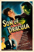 """Movie Posters:Horror, Son of Dracula (Universal, 1943). Good+ on Linen. One Sheet (27"""" X 41"""").. ..."""