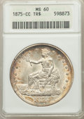 1875-CC T$1 Type Two Reverse MS60 ANACS. CDN: $1,800 Whsle. Bid for problem-free NGC/PCGS MS60. Mintage 1,573,700