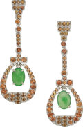 Estate Jewelry:Earrings, Jadeite Jade, Orange Sapphire, White Gold Earrings...