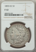 1893-CC $1 Fine 12 NGC. NGC Census: (210/3371). PCGS Population: (401/6759). CDN: $280 Whsle. Bid for problem-free NGC/P...