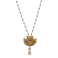 Diamond, Ruby, Cultured Pearl, Glass, Gold, Yellow Metal Necklace