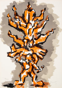 Jacques Lipchitz (1891-1973) Tree of Life Portfolio (three works), 1972 Lithographs in colors on wov