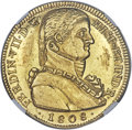 "Chile, Chile: Ferdinand VII gold ""Imaginary Bust"" 8 Escudos 1808 So-FJMS63 NGC,..."