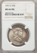 Franklin Half Dollars, 1957-D 50C MS66 Full Bell Lines NGC. NGC Census: (187/9). PCGS Population: (453/24). CDN: $150 Whsle. Bid for problem-free ...