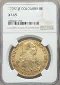 Colombia, Charles IV gold 8 Escudos 1798 P-JF XF45 NGC, Popa...
