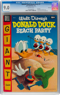 Dell Giant Comics: Donald Duck Beach Party #2 File Copy (Dell, 1955) CGC VF/NM 9.0 Off-white pages