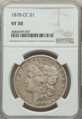 1878-CC $1 VF30 NGC. NGC Census: (189/20283). PCGS Population: (195/29455). CDN: $110 Whsle. Bid for problem-free NGC/PC...