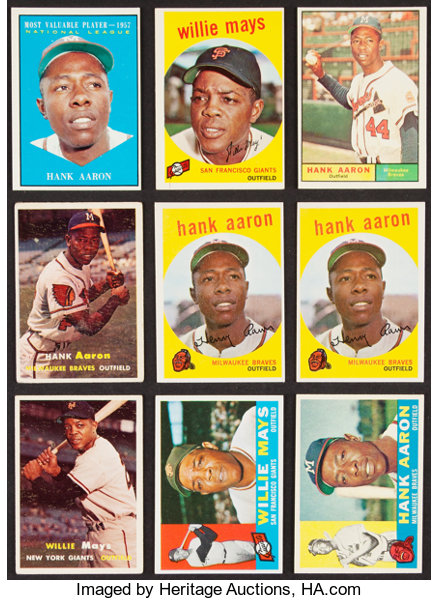 1957 61 Topps Hank Aaron Willie Mays Collection 9