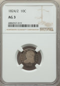 Bust Dimes, 1824/2 10C AG3 NGC. NGC Census: (0/57). PCGS Population: (67/328). AG3 . Mintage 510,000. ...