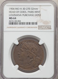 Expositions and Fairs, 1904 Louisiana Purchase Exposition, Head Of Ceres, Paris Mint,H-30-270, MS64 NGC. ...